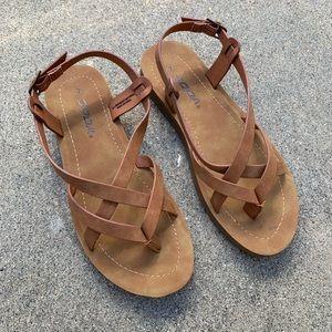 Soda Women Tan Cross Strap Buckle Sandal